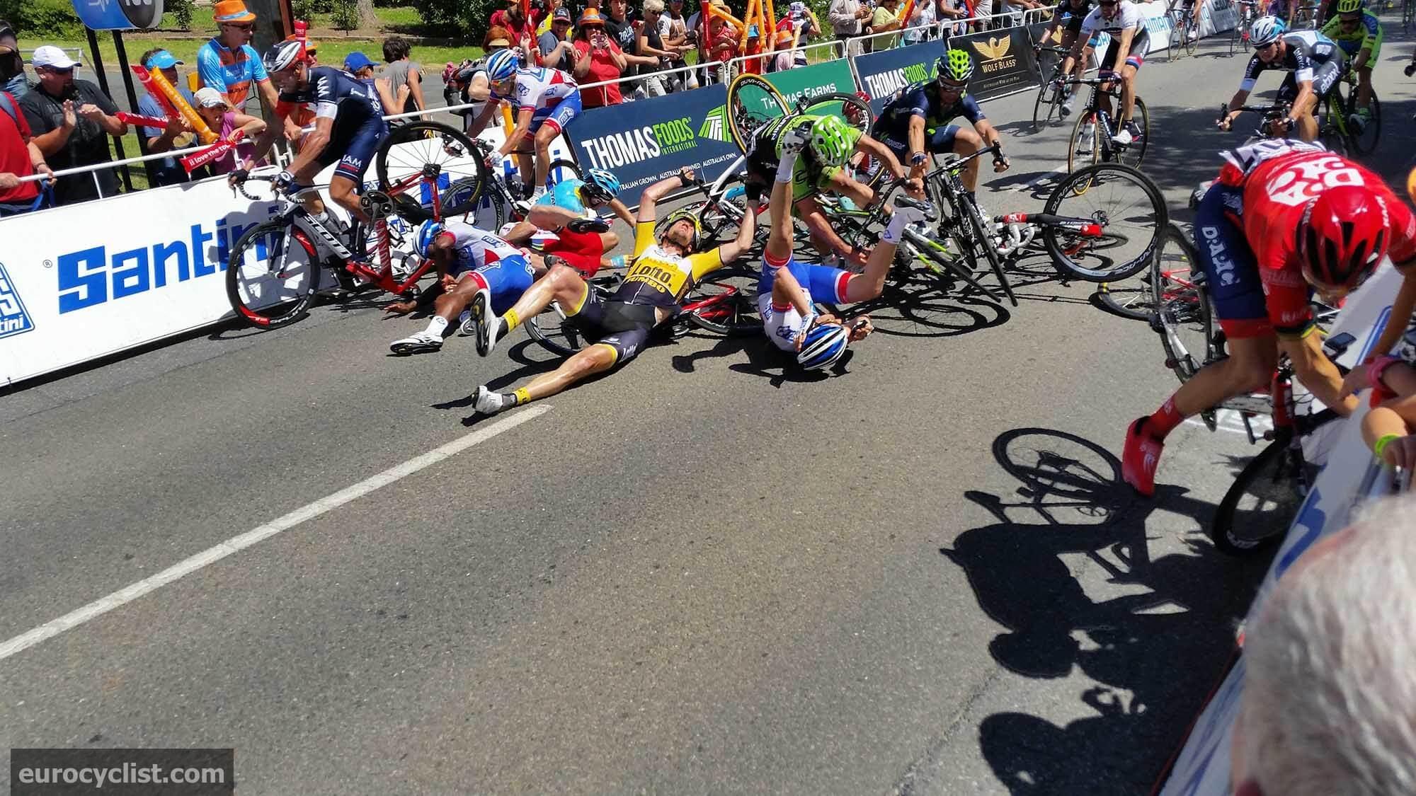 Tour Down Under Stage 4 Crash